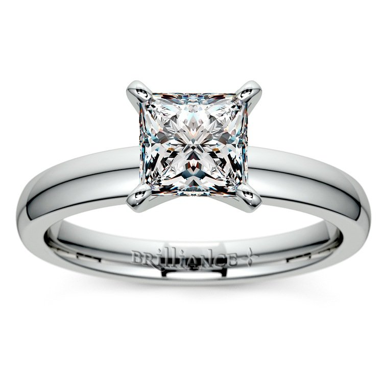 Princess Diamond Preset Engagement Ring in White Gold (1/4 ctw) | 02
