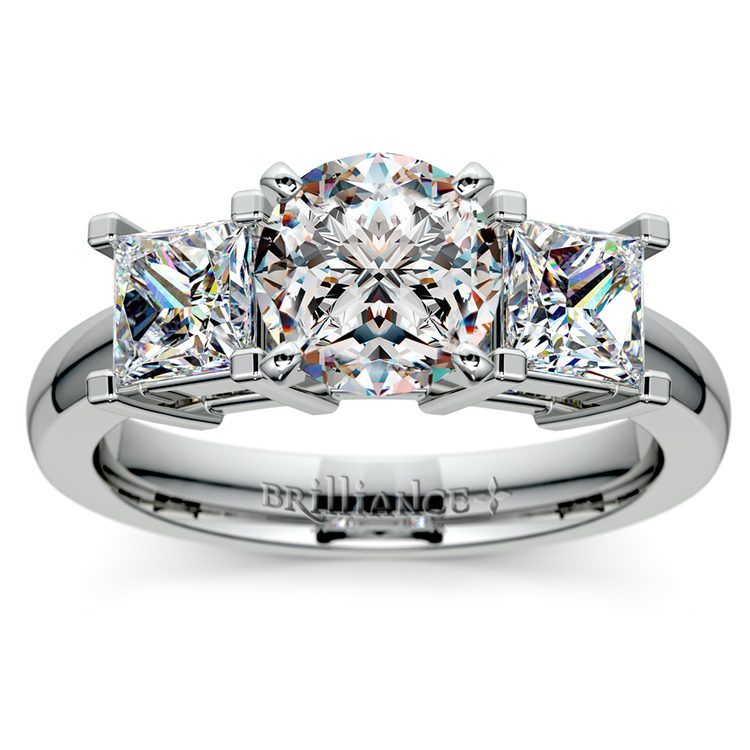 Princess Diamond Engagement Ring in White Gold (1 ctw) | 01
