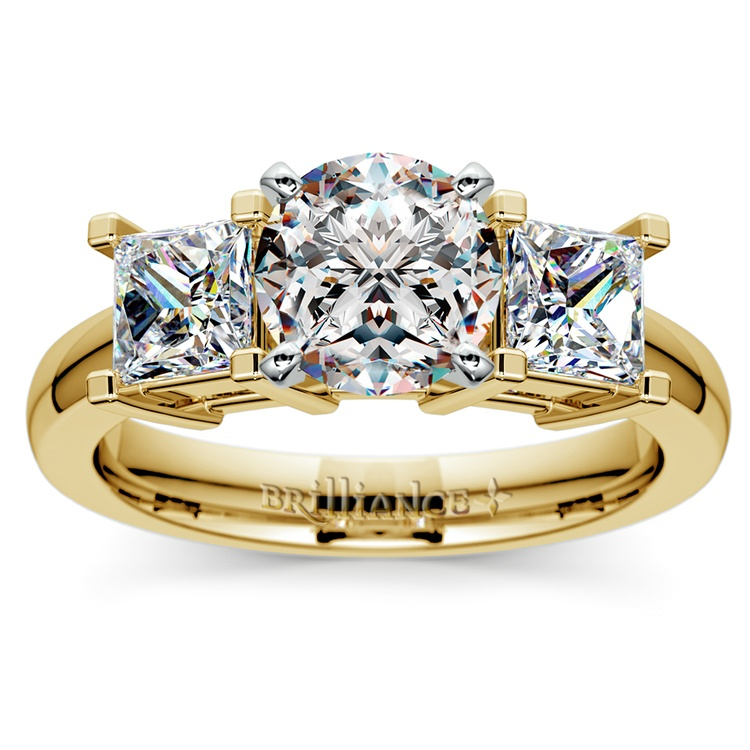 Princess Diamond Engagement Ring in Yellow Gold (1 ctw) | 01