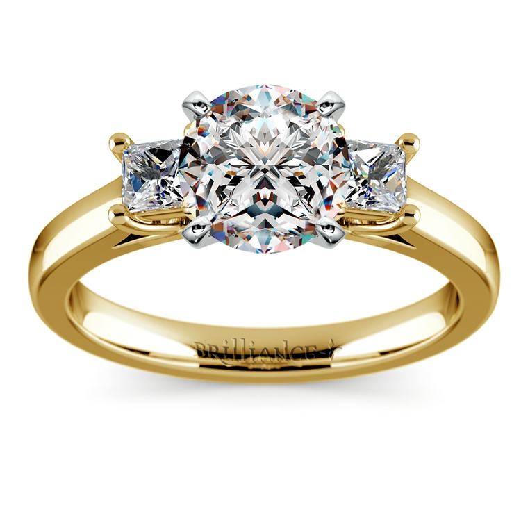 Princess Trellis Diamond Engagement Ring in Yellow Gold (1/3 ctw)  | 01