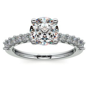 Reverse Trellis Diamond Engagement Ring in Platinum