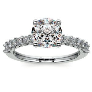 Reverse Trellis Diamond Engagement Ring in White Gold