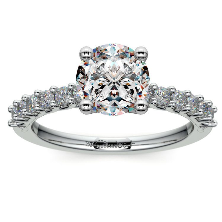 Reverse Trellis Diamond Engagement Ring in White Gold | 01