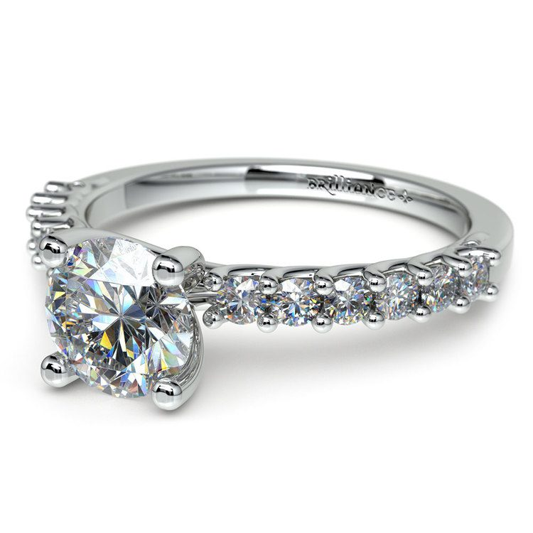 Reverse Trellis Diamond Engagement Ring in White Gold | 04