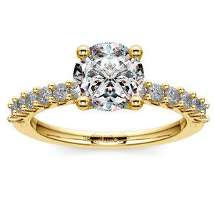 Reverse Trellis Diamond Engagement Ring in Yellow Gold