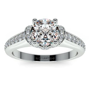 Ribbon Diamond Engagement Ring with Surprise Diamonds in Platinum