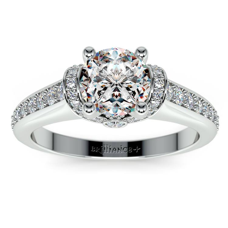 Ribbon Diamond Engagement Ring with Surprise Diamonds in White Gold | 01
