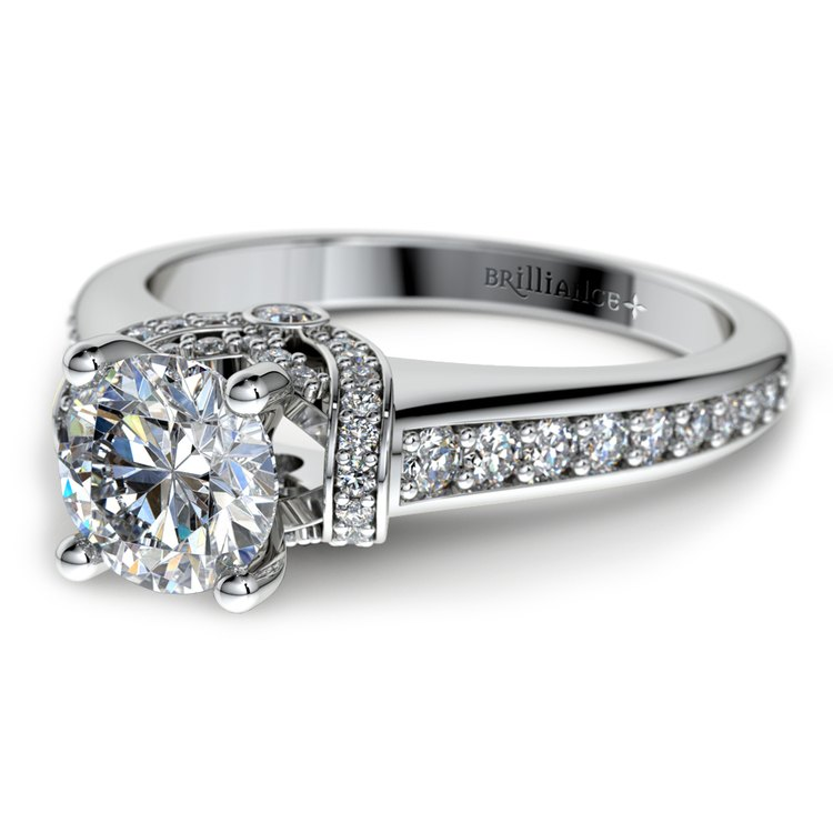 Ribbon Diamond Engagement Ring with Surprise Diamonds in White Gold | 04
