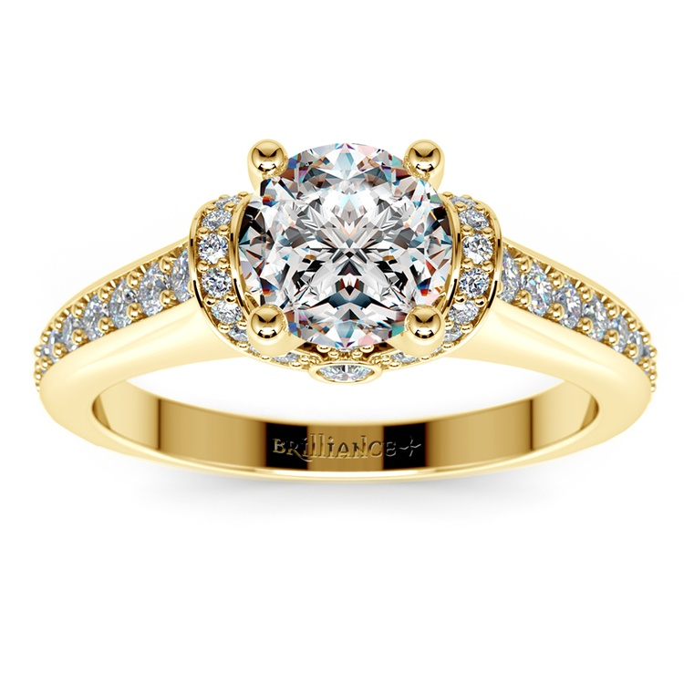 Ribbon Diamond Engagement Ring with Surprise Diamonds in Yellow Gold | 01
