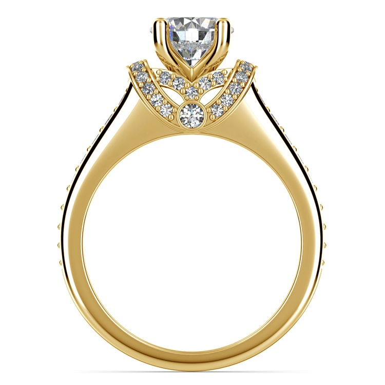 Ribbon Diamond Engagement Ring with Surprise Diamonds in Yellow Gold | 02