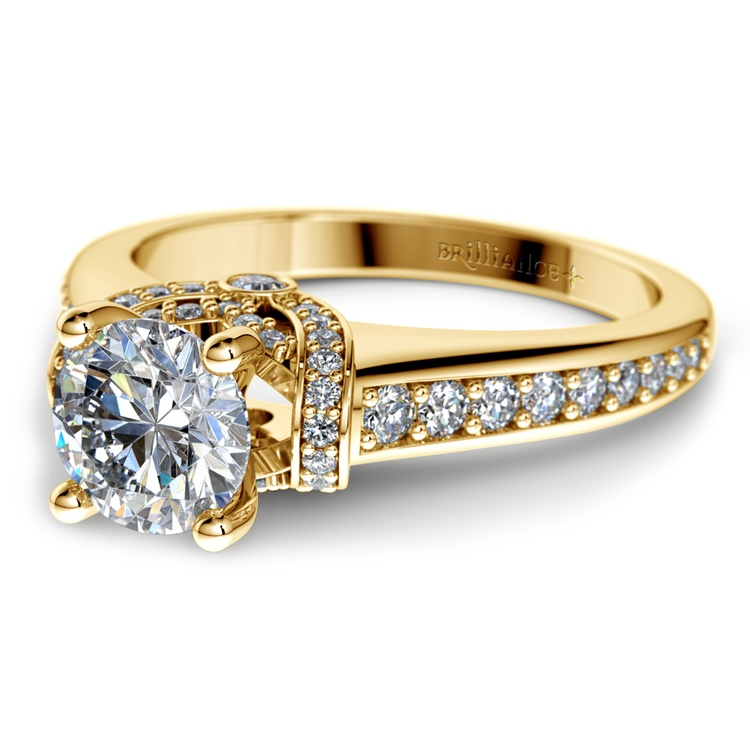 Ribbon Diamond Engagement Ring with Surprise Diamonds in Yellow Gold | 04