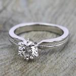 Rocker (European) Milgrain Solitaire Engagement Ring in White Gold | Thumbnail 05