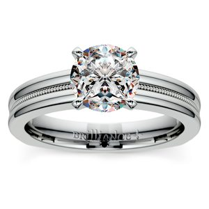 Rocker (European) Milgrain Solitaire Engagement Ring in White Gold