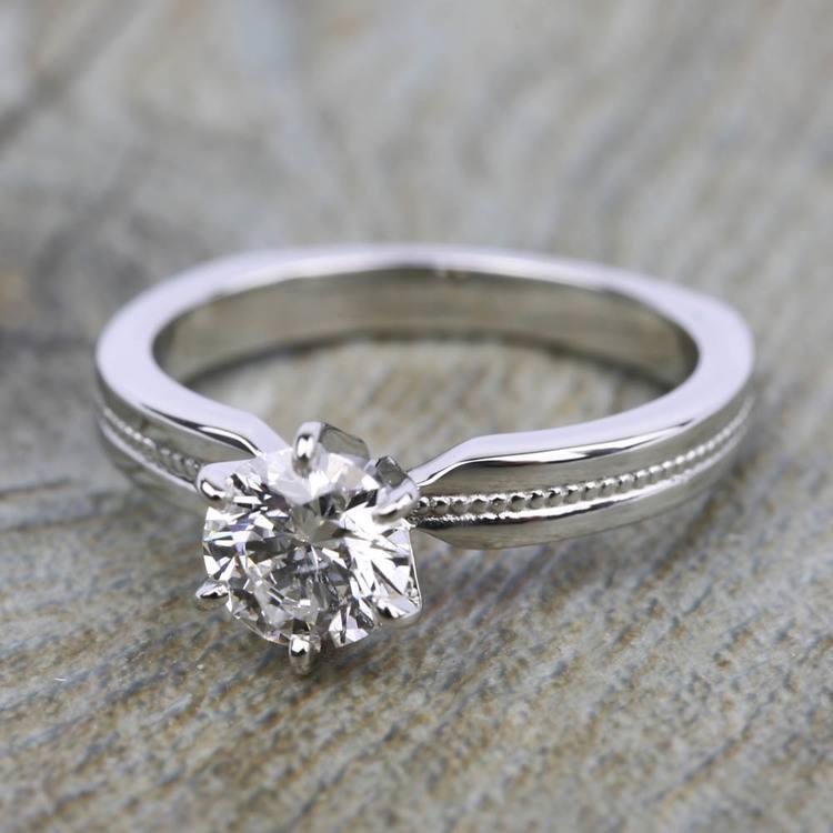 Rocker (European) Milgrain Solitaire Engagement Ring in White Gold | 05