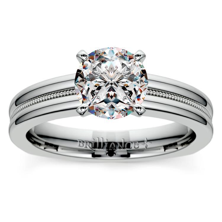 Rocker (European) Milgrain Solitaire Engagement Ring in White Gold | 01