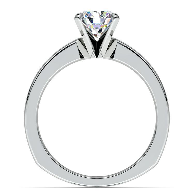 Rocker (European) Milgrain Solitaire Engagement Ring in White Gold | 02