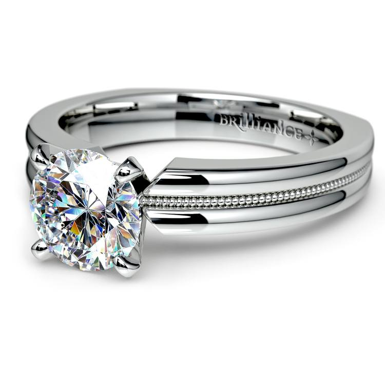 Rocker (European) Milgrain Solitaire Engagement Ring in White Gold | 04
