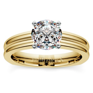 Rocker (European) Milgrain Solitaire Engagement Ring in Yellow Gold