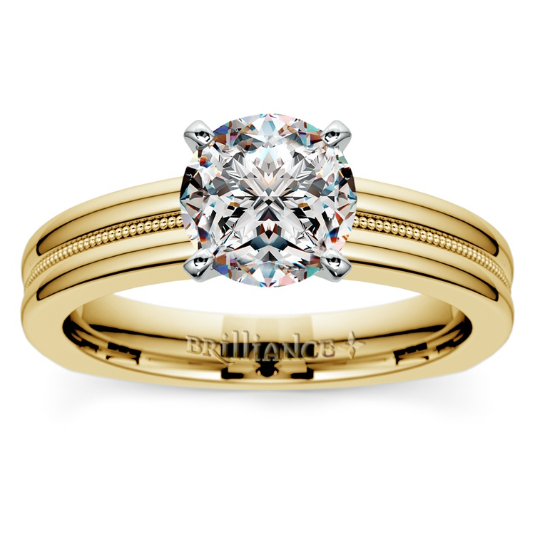 Rocker (European) Milgrain Solitaire Engagement Ring in Yellow Gold | 01