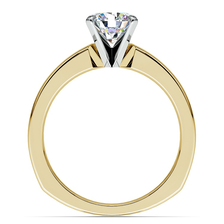 Rocker (European) Milgrain Solitaire Engagement Ring in Yellow Gold | 02