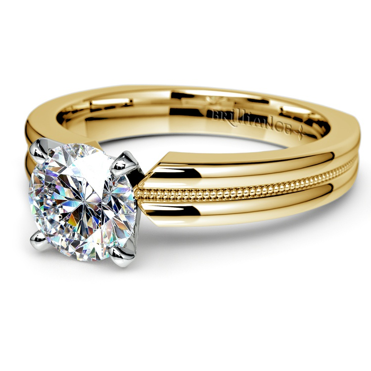 Rocker (European) Milgrain Solitaire Engagement Ring in Yellow Gold | 04
