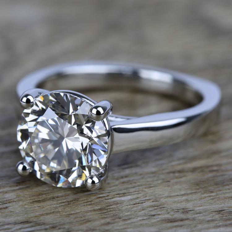 Rocker (European) Trellis Solitaire Engagement Ring in Platinum | 05