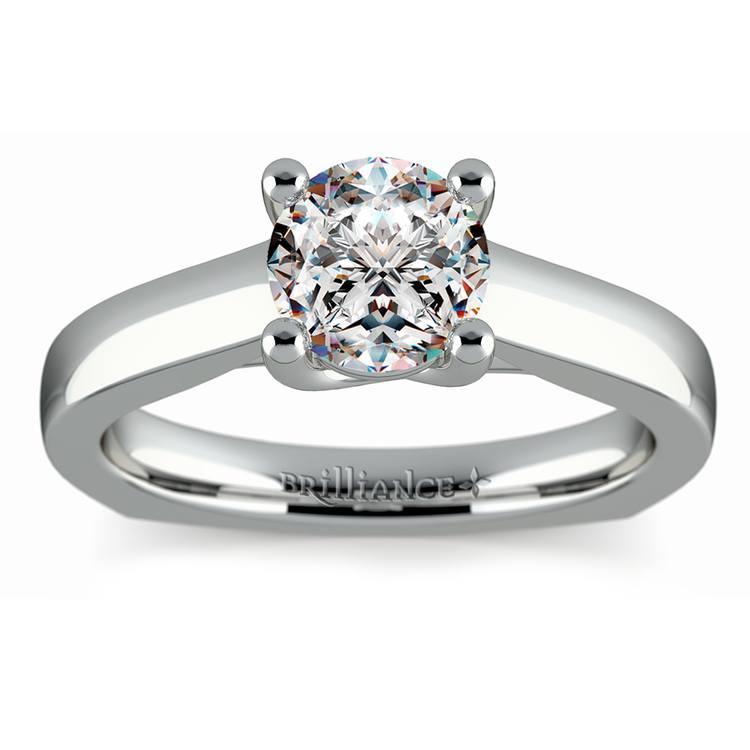 Rocker (European) Trellis Solitaire Engagement Ring in Platinum | 01
