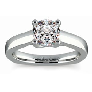 Rocker (European) Trellis Solitaire Engagement Ring in White Gold