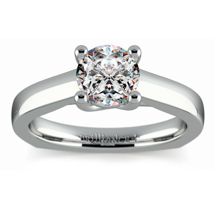 Rocker (European) Trellis Solitaire Engagement Ring in White Gold | 01