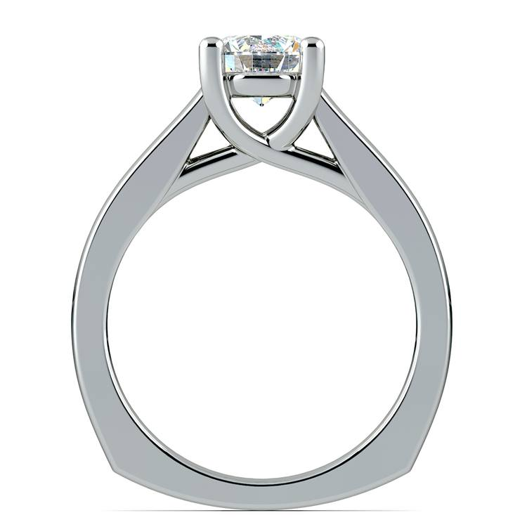Rocker (European) Trellis Solitaire Engagement Ring in White Gold | 02