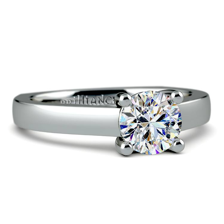 Rocker (European) Trellis Solitaire Engagement Ring in White Gold | 04