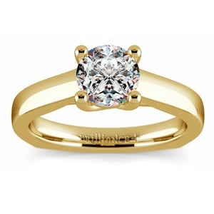 Rocker (European) Trellis Solitaire Engagement Ring in Yellow Gold