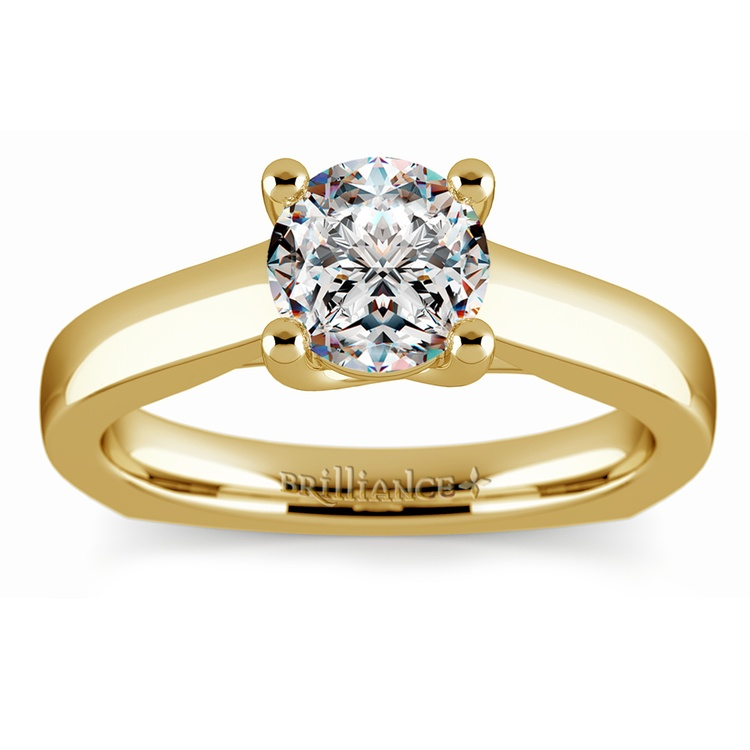 Rocker (European) Trellis Solitaire Engagement Ring in Yellow Gold | 01
