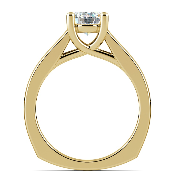 Rocker (European) Trellis Solitaire Engagement Ring in Yellow Gold | 02