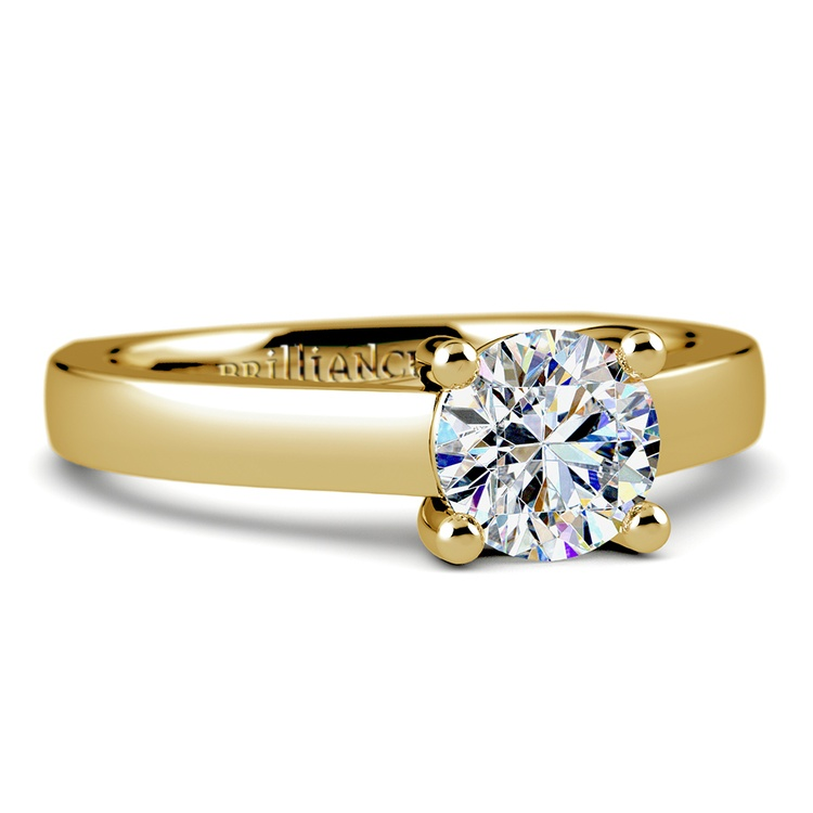 Rocker (European) Trellis Solitaire Engagement Ring in Yellow Gold | 04
