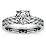 Rocker (European) Milgrain Solitaire Engagement Ring in Palladium | Thumbnail 01
