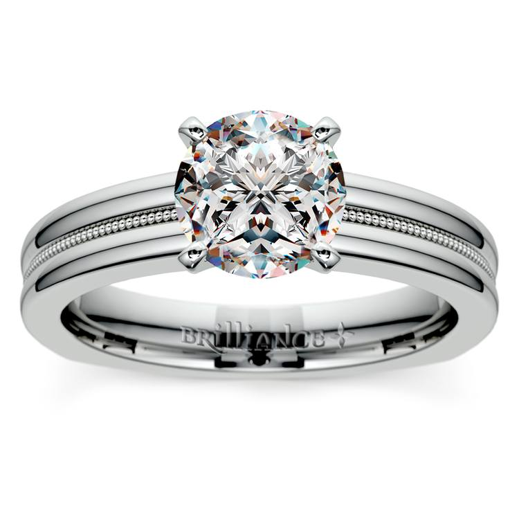 Rocker (European) Milgrain Solitaire Engagement Ring in Palladium | 01