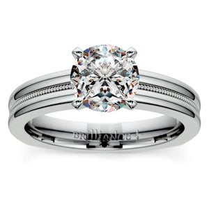 Rocker (European) Milgrain Solitaire Engagement Ring in Platinum