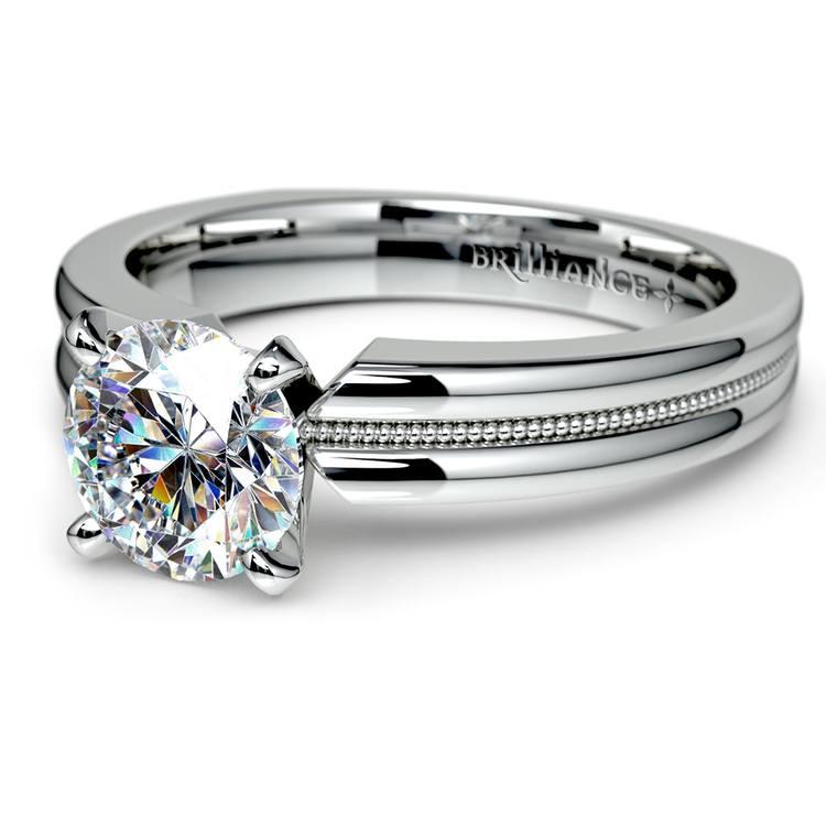 Rocker (European) Milgrain Solitaire Engagement Ring in Platinum | 04