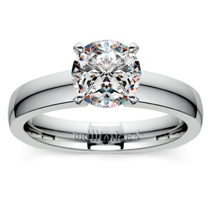 Rocker (European) Solitaire Engagement Ring in White Gold