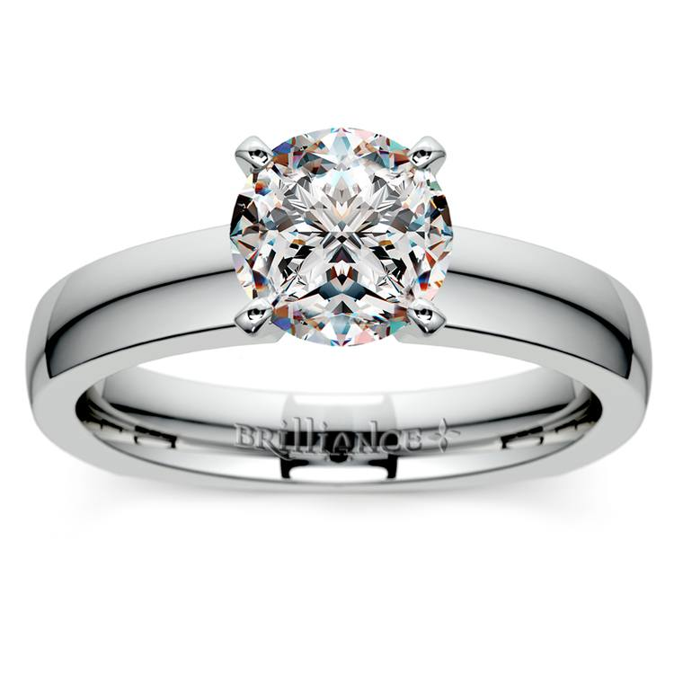Rocker (European) Solitaire Engagement Ring in White Gold | 01