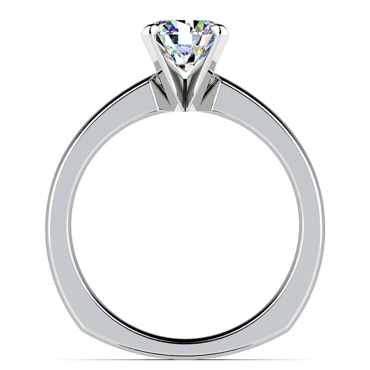 Rocker (European) Solitaire Engagement Ring in White Gold | 02