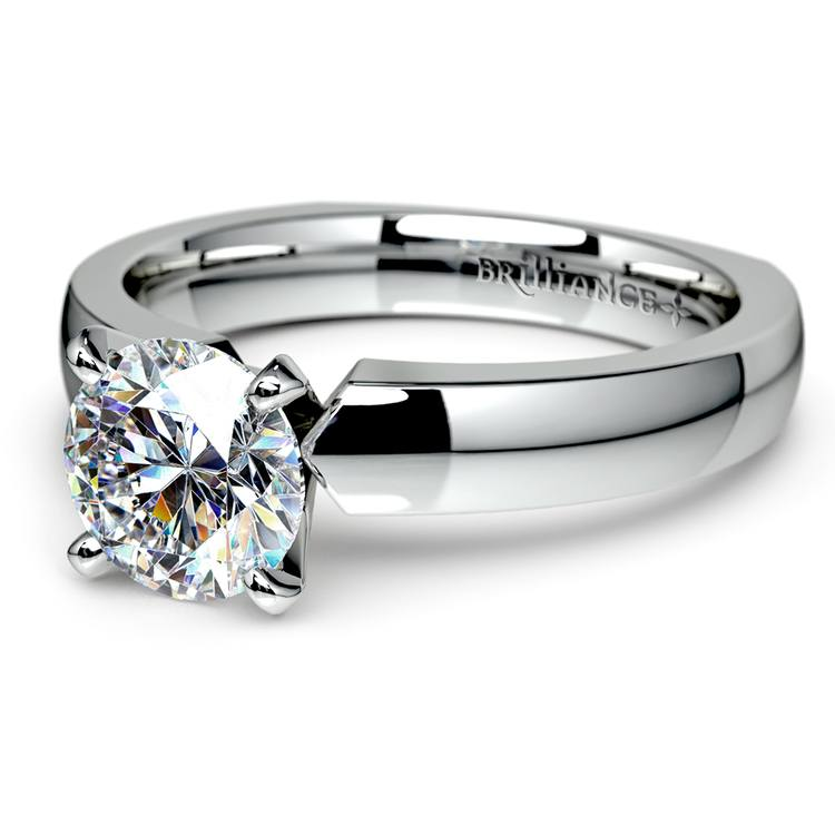 Rocker (European) Solitaire Engagement Ring in White Gold | 04