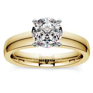 Rocker (European) Solitaire Engagement Ring in Yellow Gold