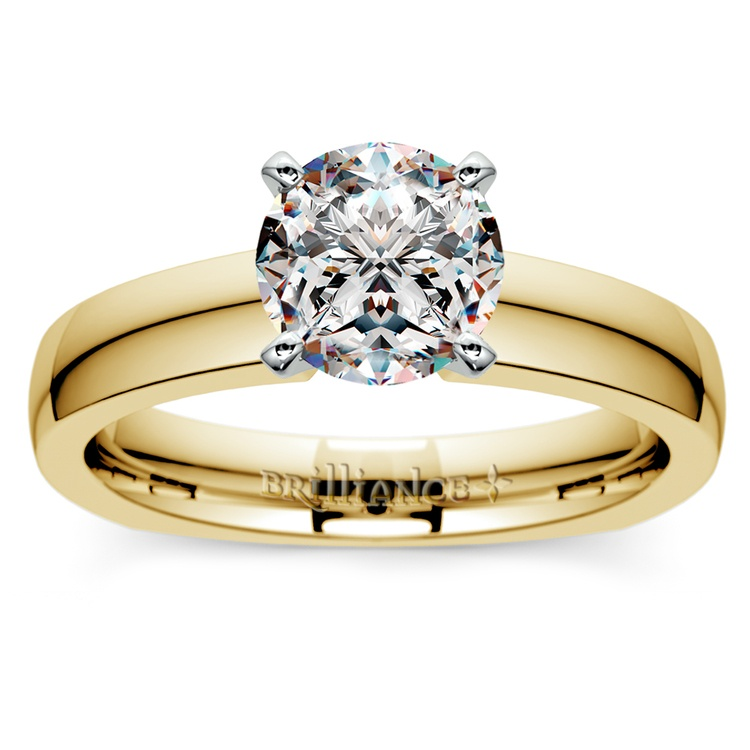 Rocker (European) Solitaire Engagement Ring in Yellow Gold | 01
