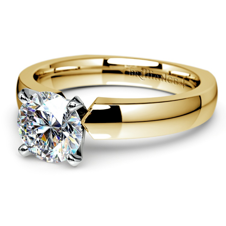 Rocker (European) Solitaire Engagement Ring in Yellow Gold | 04