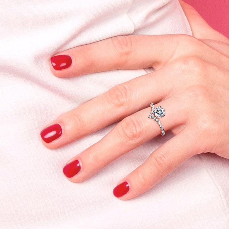 Rose Gold Chevron Engagement Ring | 06