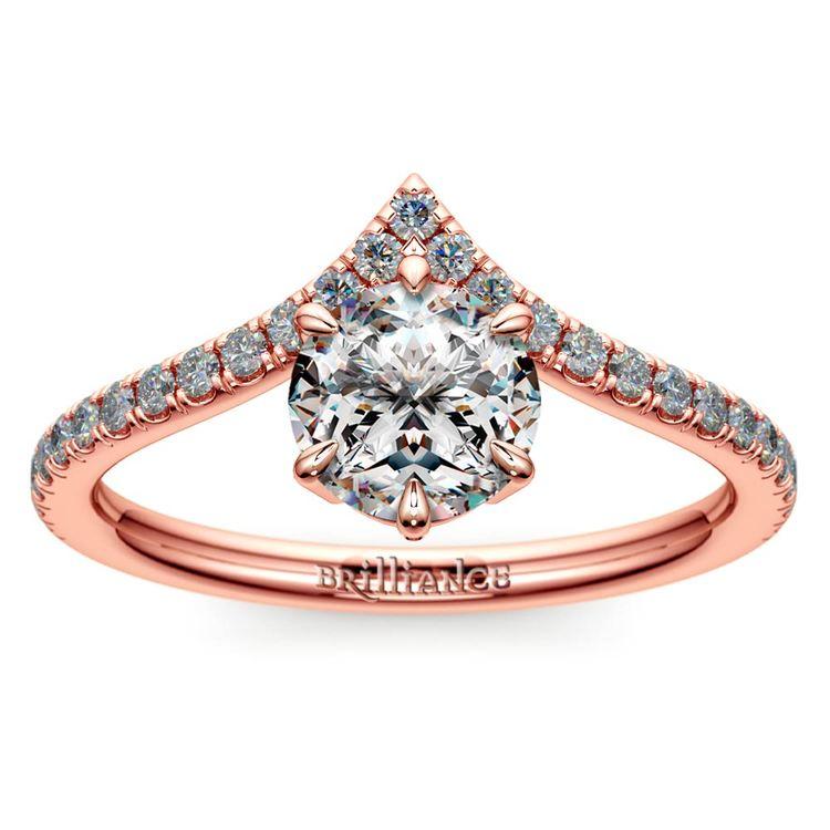 Rose Gold Chevron Engagement Ring | 01