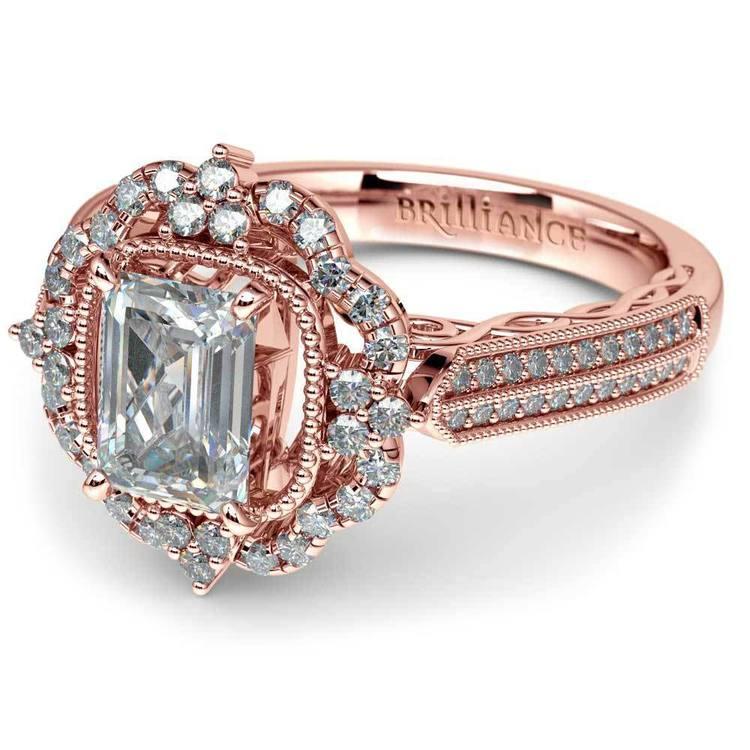 Rose Gold Halo Diamond Engagement Ring (1.50 Carat)   01