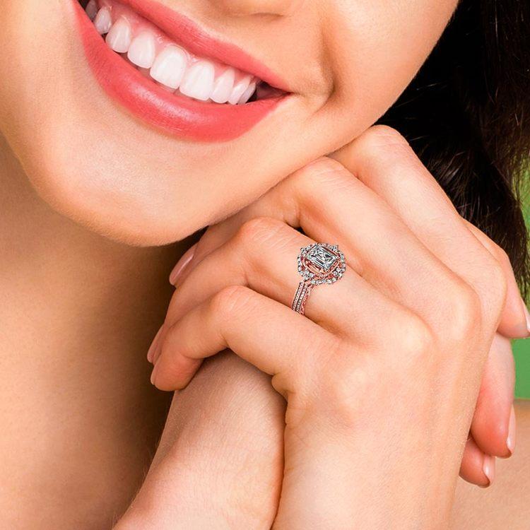 Rose Gold Halo Diamond Engagement Ring (0.75 Carat)   06